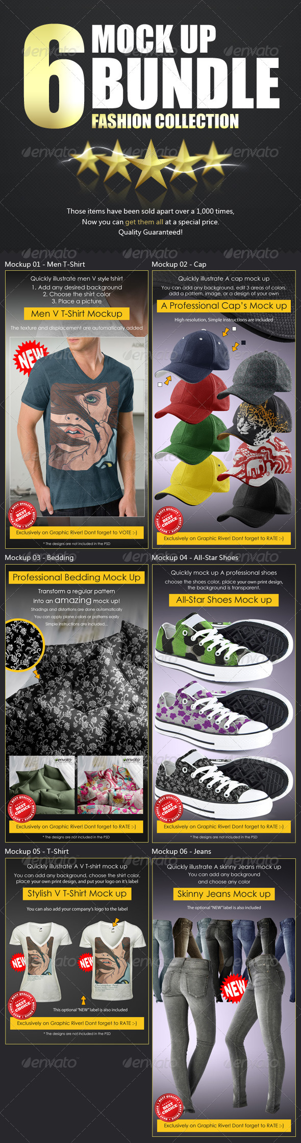 GraphicRiver Top x6 Mockup Bundle Fashion Collection 3594370