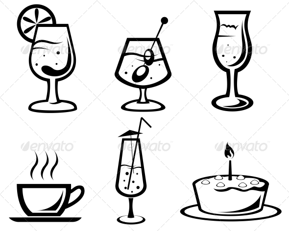 Cocktail and Drink Symbols - Food Objects
