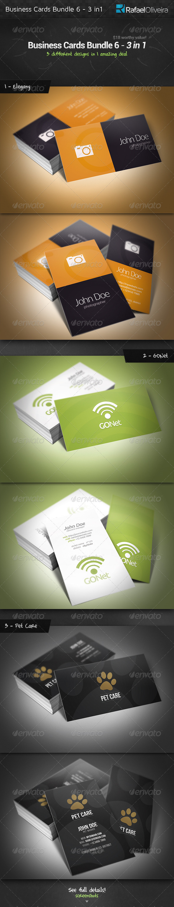GraphicRiver Business Cards Bundle 6 3 in 1 3556626