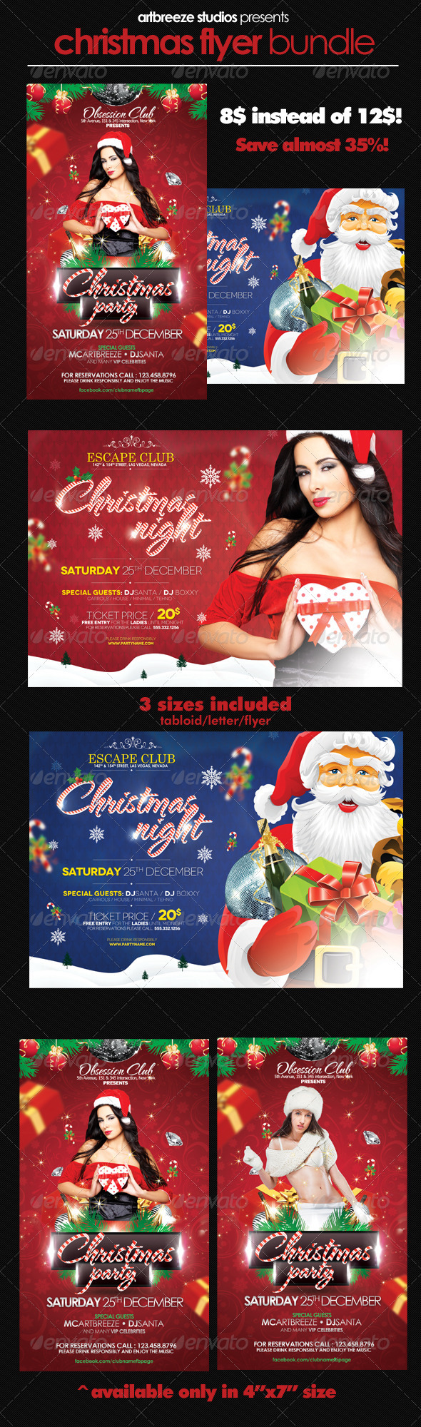 GraphicRiver Christmas Party Flyer Bundle 3595406