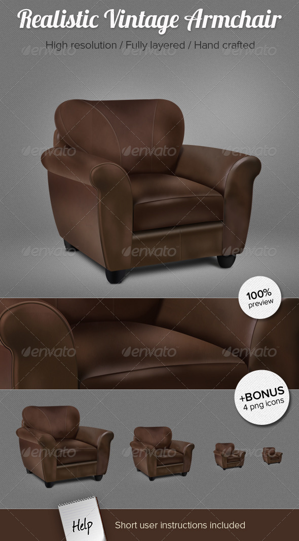 Realistic Vintage Armchair - 3D Backgrounds