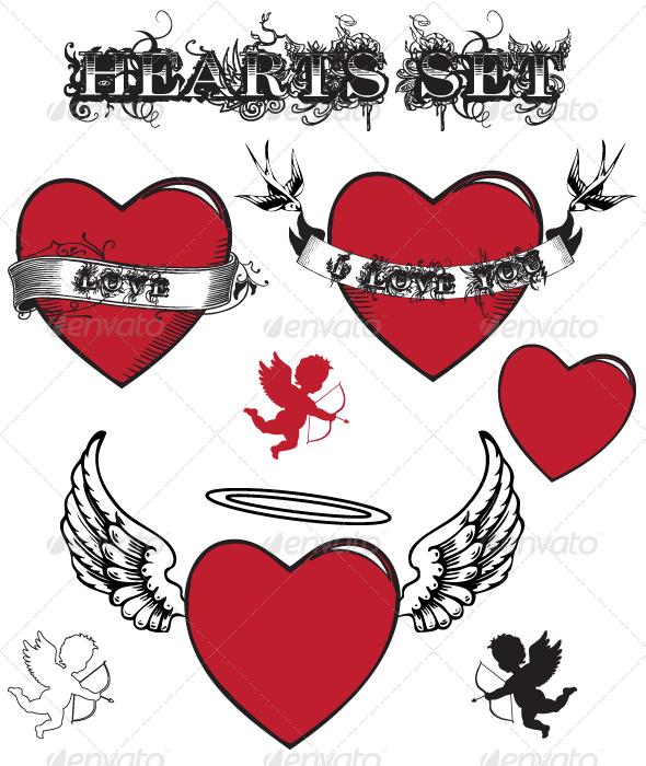 GraphicRiver Hearts Valentine s Set 3555777