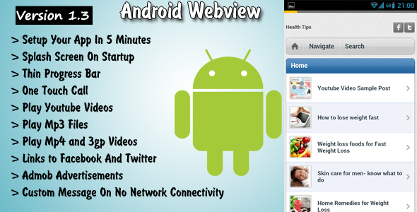 CodeCanyon Android Webview With Progress bar and admob ads 2224740