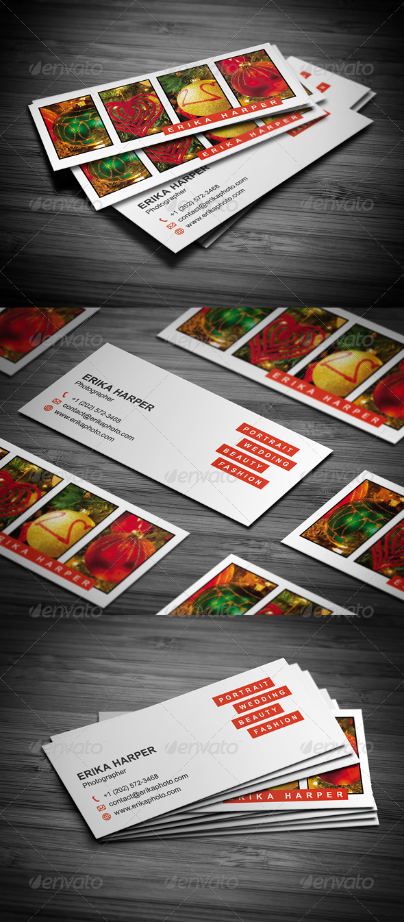 GraphicRiver Slim Photography Business Card 3595807