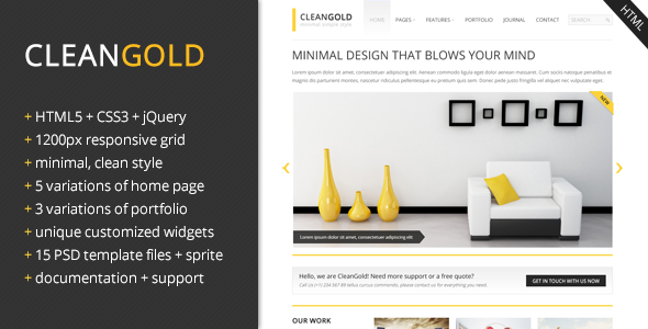 ThemeForest CleanGold Responsive Site Template 3259460
