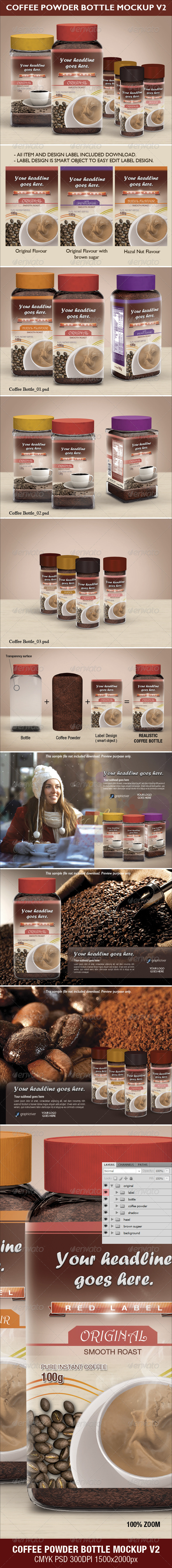 GraphicRiver Coffee Power Bottle Mock-up V2 3596498