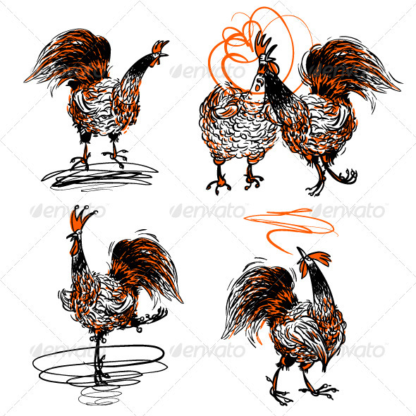 GraphicRiver Roosters and a Hen Set 3596824