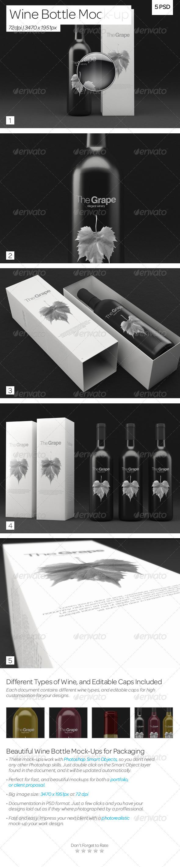 GraphicRiver Wine Bottle Packaging Mock-Up 3597216