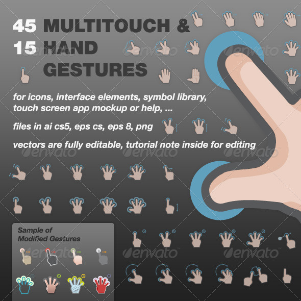 GraphicRiver MultiTouch and Hand Gestures Vectors 3553663