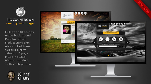 ThemeForest BIG Countdown Fullscreen Coming Soon Page 3293261