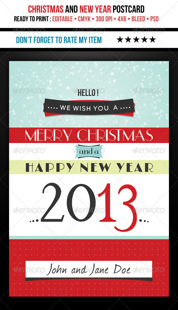 GraphicRiver Retro Christmas and 2013 PostCard 3597724