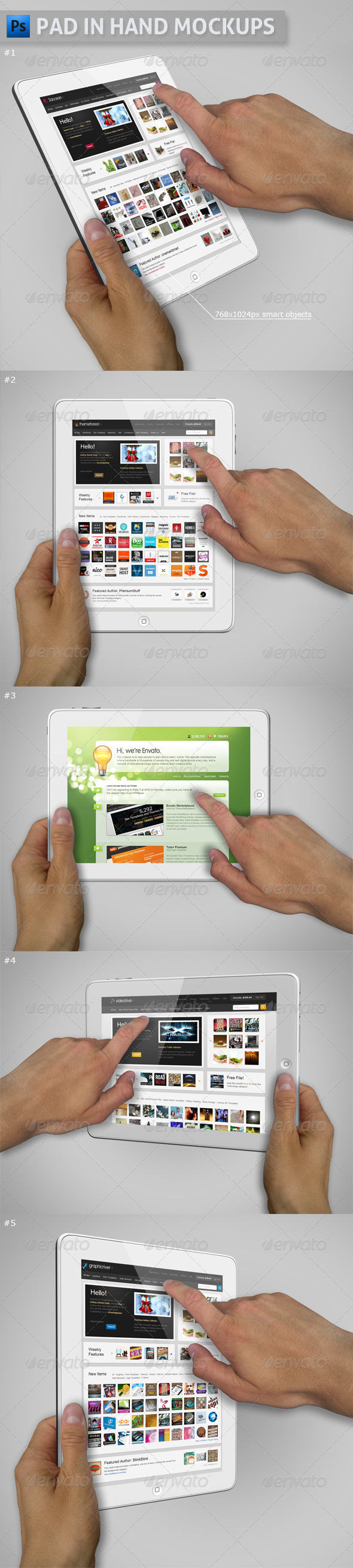 Pad in Hand Mockups - Mobile Displays