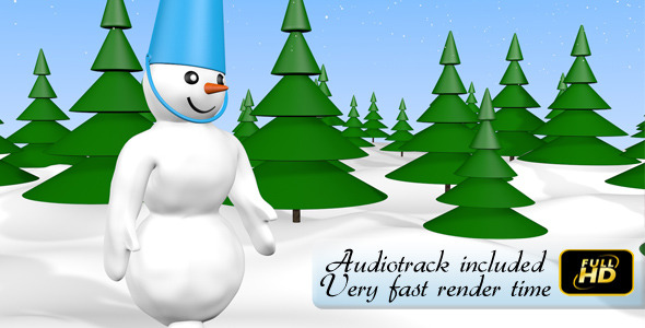 VideoHive Walking New Year Snowman 3598939