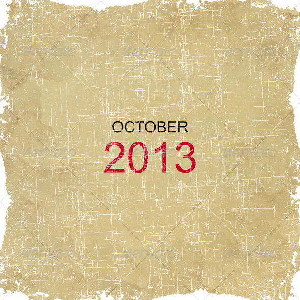 2013 Calendar Old Paper Design - October - Stock Photo - Images