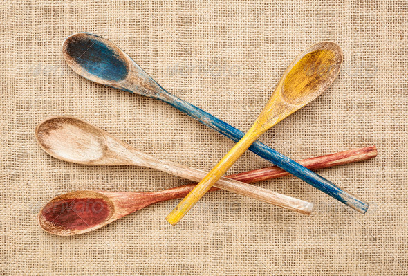 rustic wooden spoons - Stock Photo - Images
