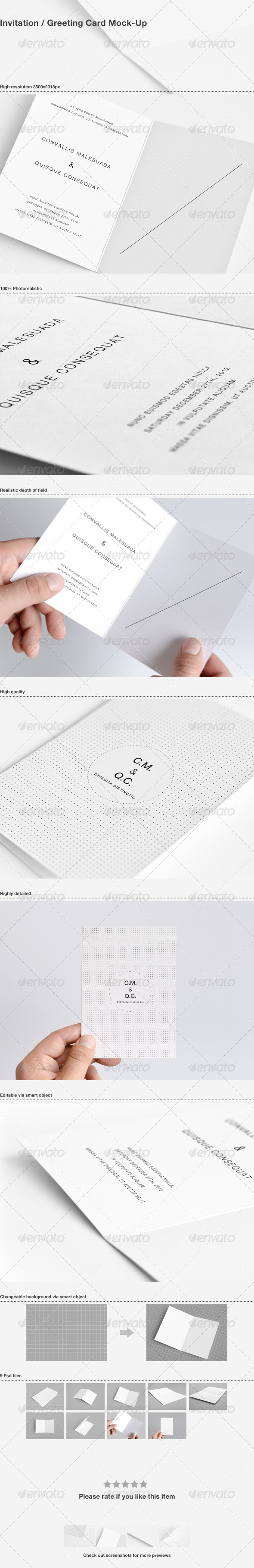 GraphicRiver Invitation Greeting Card Mock-Up 3601011
