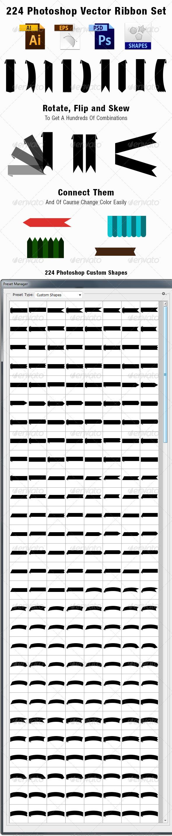 GraphicRiver 224 Vector Ribbon Set 3601505
