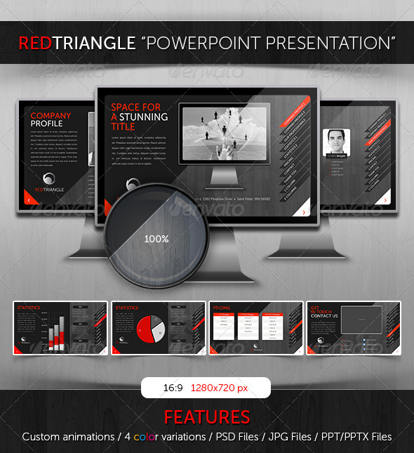 GraphicRiver Powerpoint RedTriangle Theme 3601566