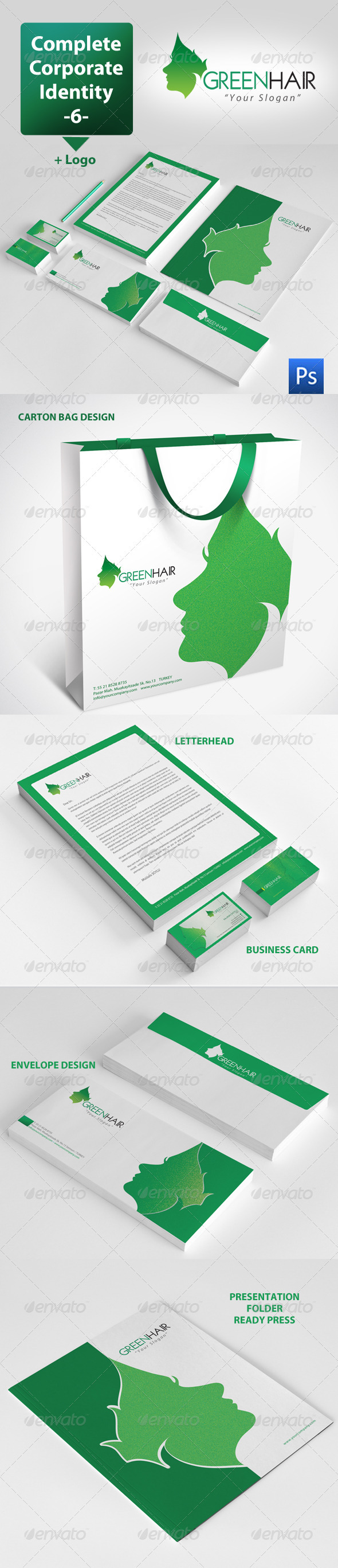 GraphicRiver Green Hair Corporate Identity Package 3602510