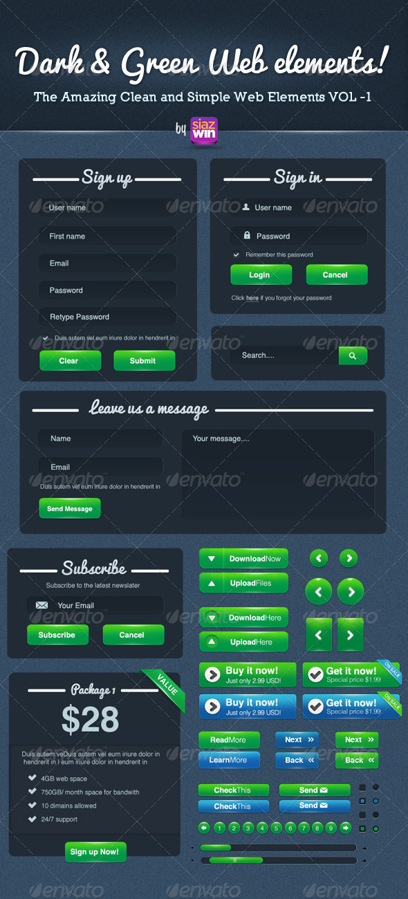 GraphicRiver The Amazing Clean and Simple Web Elements VOL 1 3602936
