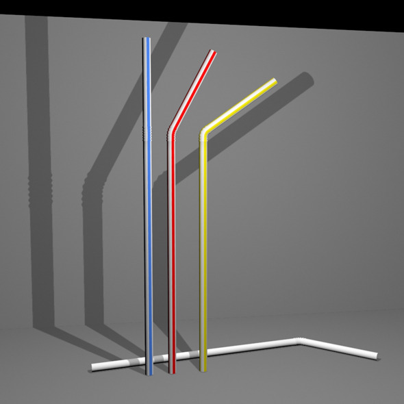 3DOcean Simple Plastic Style Drinking Straw with Textures 3603087