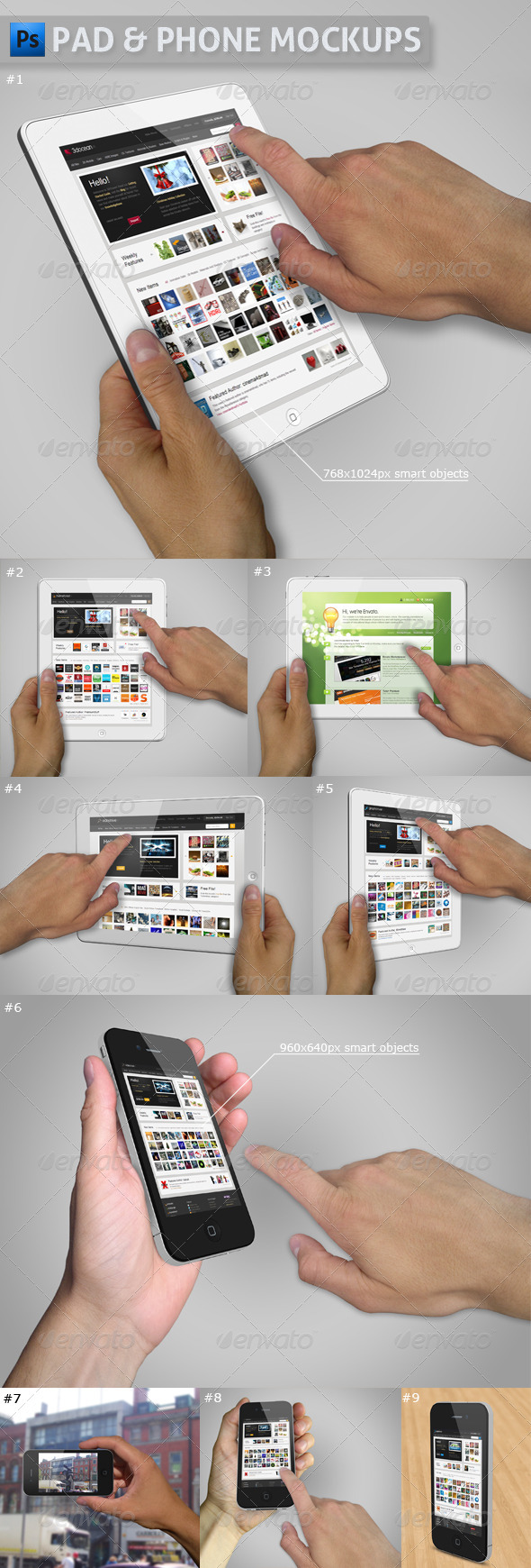 GraphicRiver Pad and Phone Mockup Bundle 2839394
