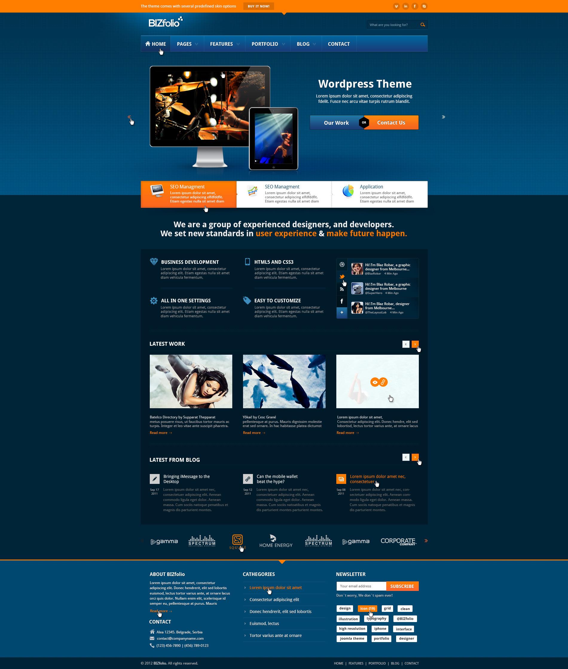 BizFolio Responsive Unique HTML Theme