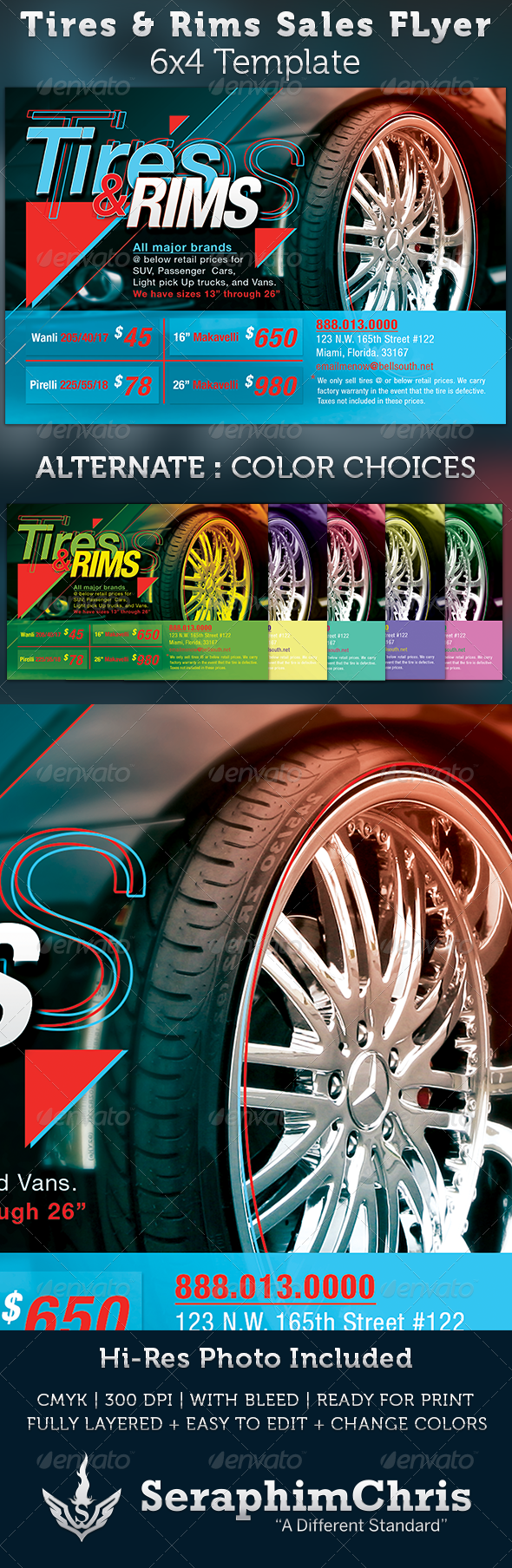 Memorial Day Car Sales >> Tires and Rims Sales Ad Flyer Template | GraphicRiver