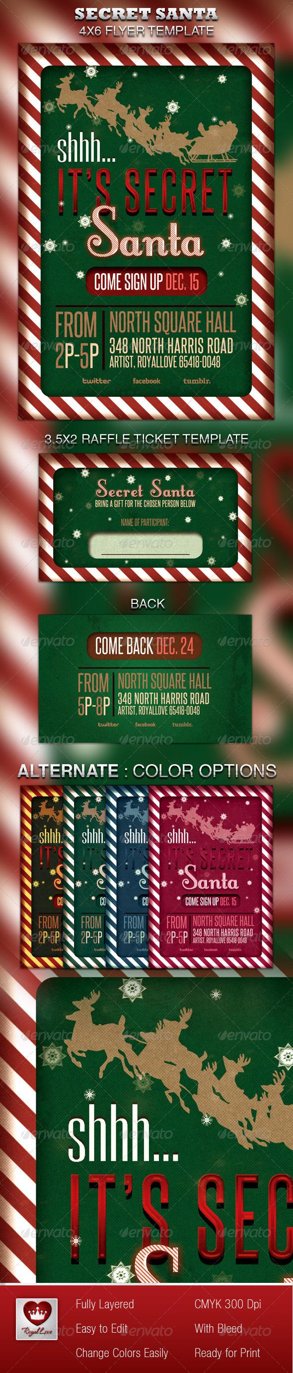 Secret Santa Flyer & Raffle Ticket - Holidays Events
