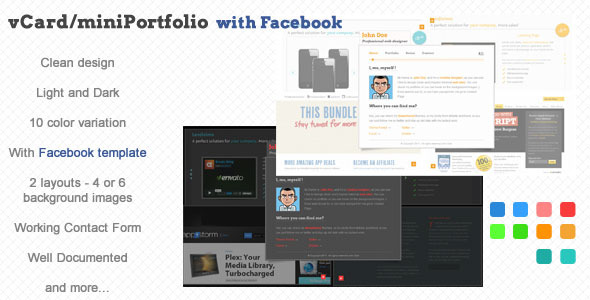 vCard/miniPortfolio with Facebook Template - The image for the description page