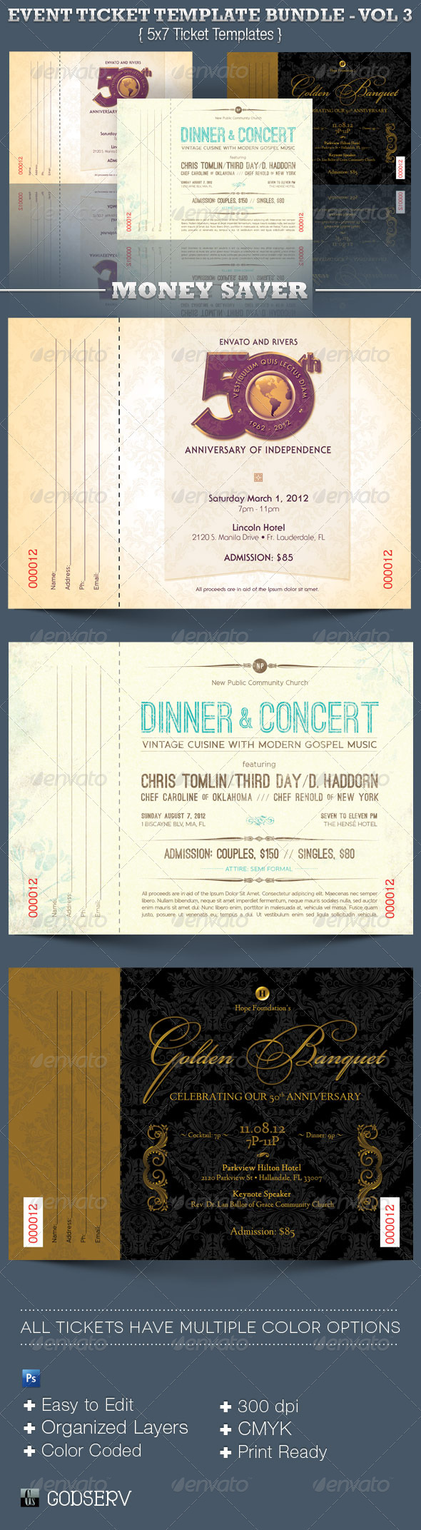 Event Ticket Template Bundle - Volume 3 - Miscellaneous Print Templates