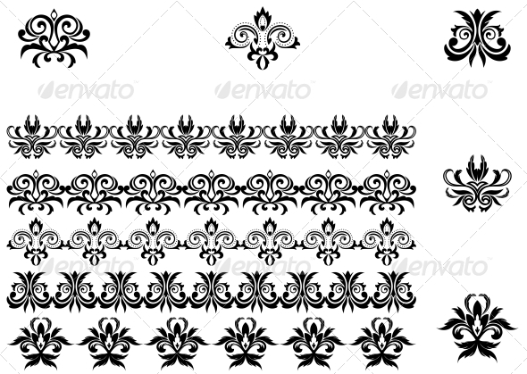 GraphicRiver Flower Patterns and Borders 3604896