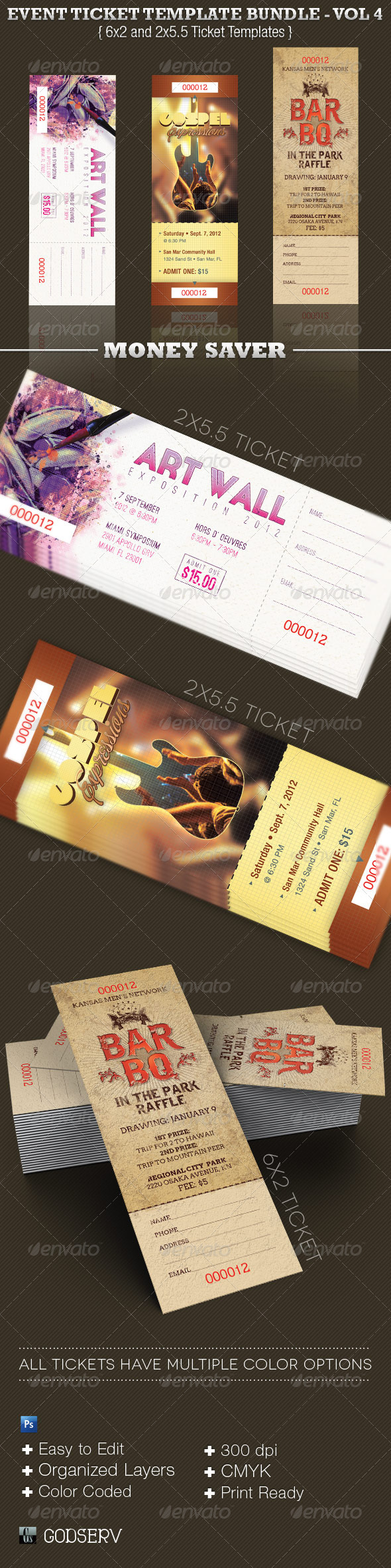Event Ticket Template Bundle - Volume 4 - Miscellaneous Print Templates