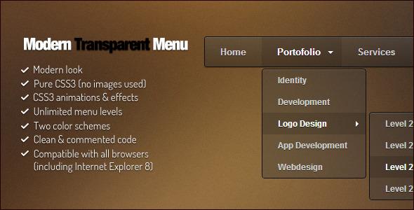 CodeCanyon Modern Transparent Menu 3604930