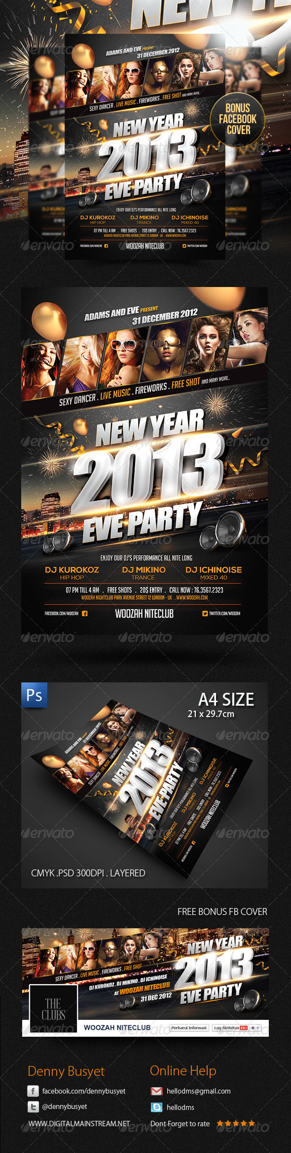 GraphicRiver New Years Eve Party Flyer Poster Template 3605751