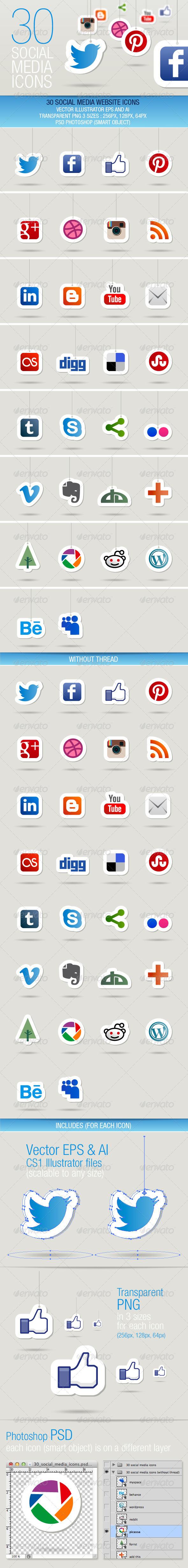 GraphicRiver 30 Social Media Icons 3606020