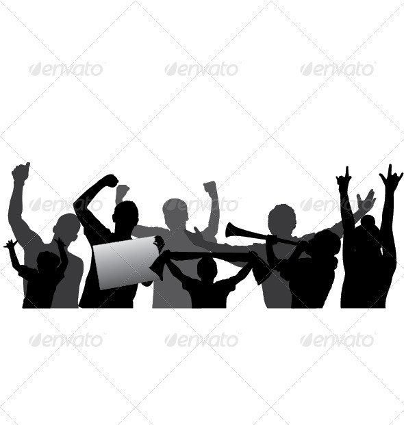 GraphicRiver Sports Fans Cheering Crowd Vector Silhouettes 3606776