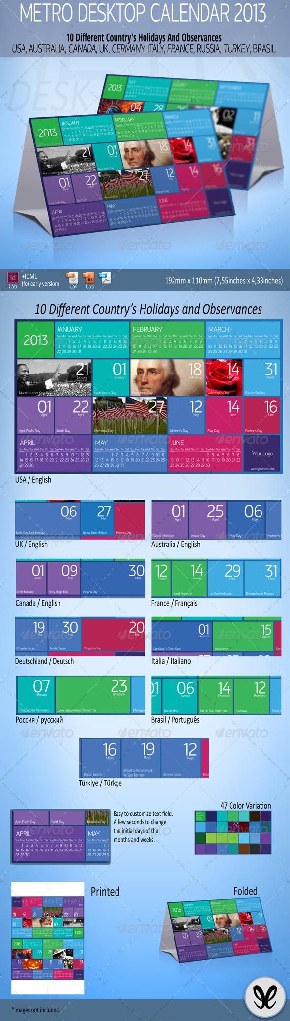 GraphicRiver Metro Calendar 2013 Desktop 3401204