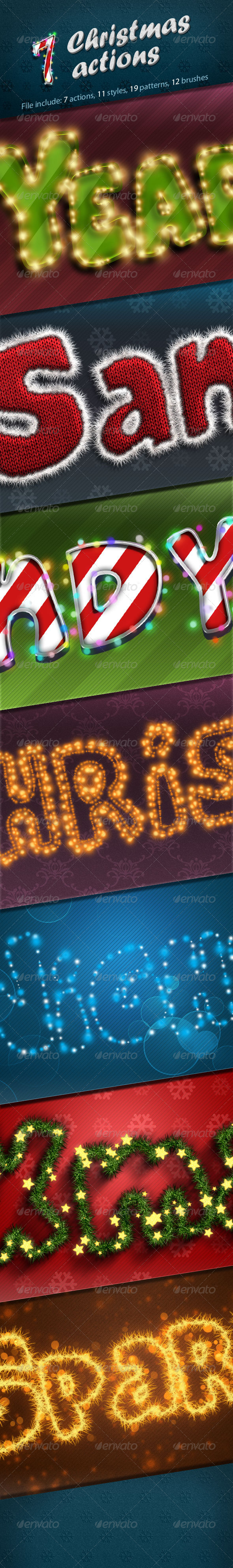 7 Christmas Actions - Text Effects Styles