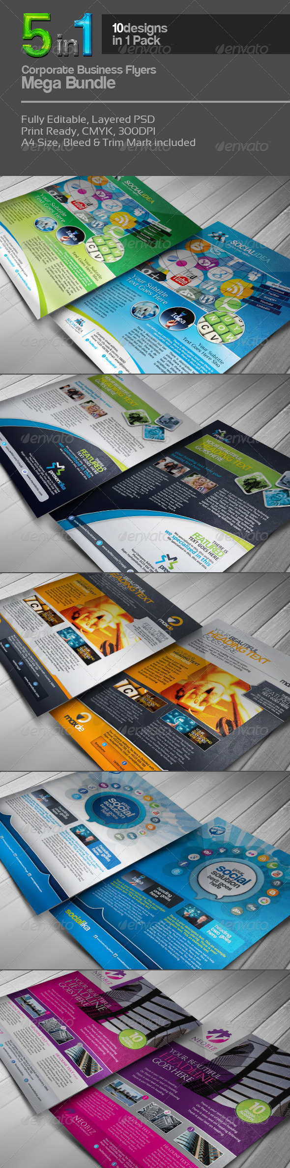 GraphicRiver 5 in 1 Corporate Flyers Mega Bundle 3606869