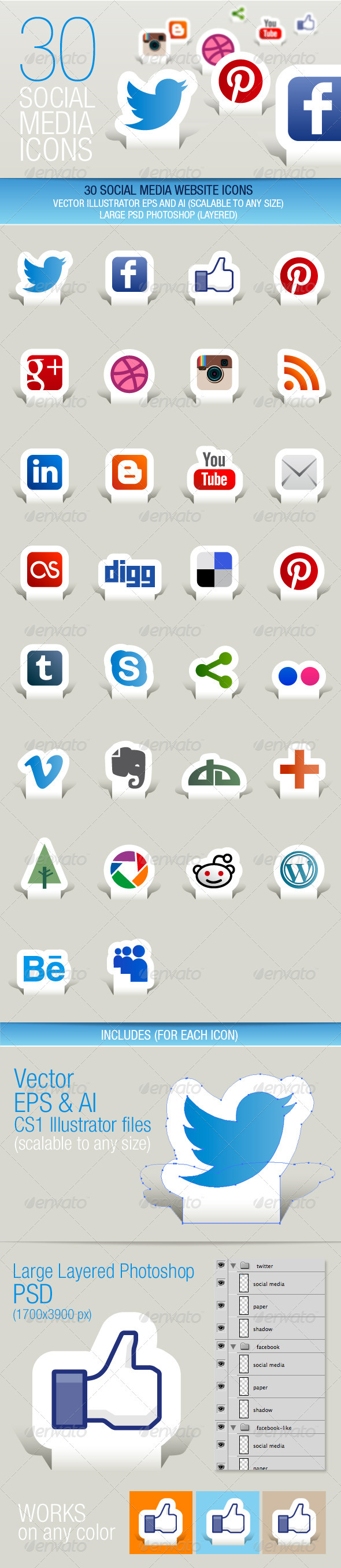 30 Social Media Icons (Paper Cut) - Media Icons