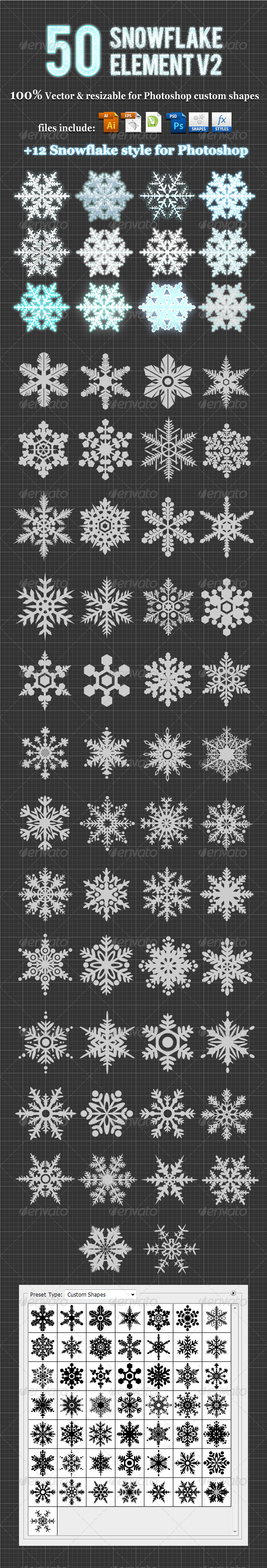 GraphicRiver 50Snowflake Element v2 Photoshop Custom Shapes 3422735