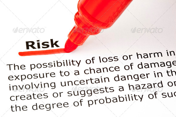 Risk underlined with red marker - Stock Photo - Images