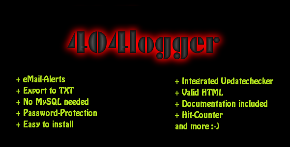 404 Error Logger + E-Mail Alerts & Export to TXT - CodeCanyon Item for Sale