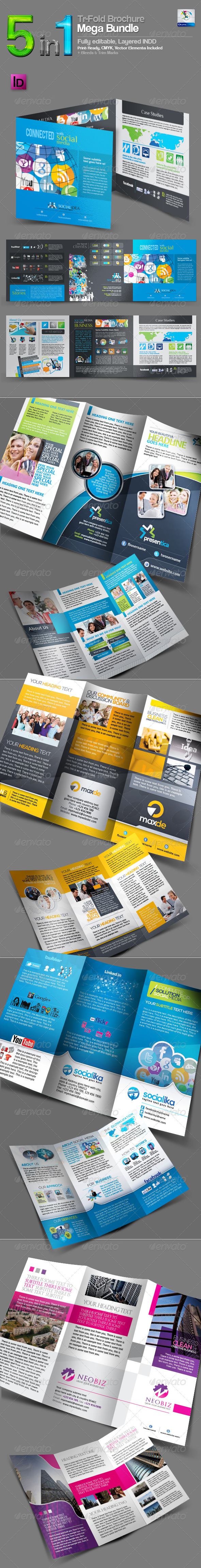 GraphicRiver 5 in 1 Tri-Fold Brochure Mega Bundle 3607835
