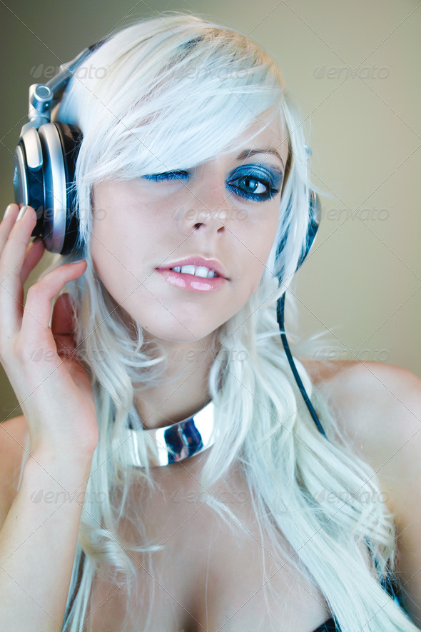 Sexy Blue Eyes DJ - Stock Photo - Images