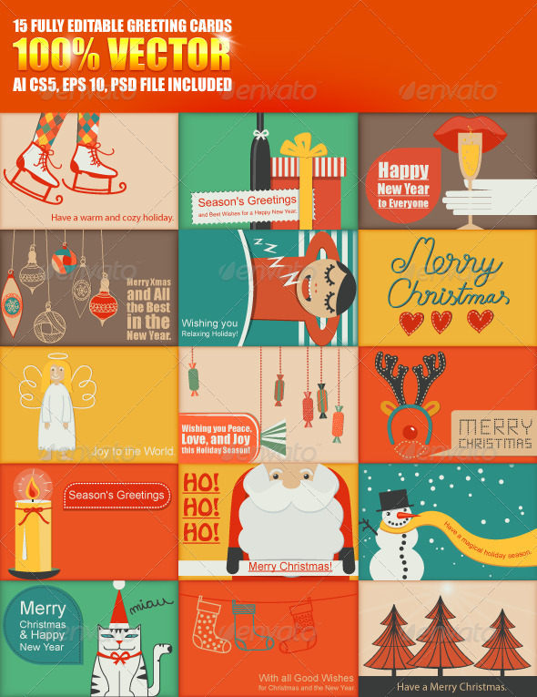 GraphicRiver Fully Editable Greeting Cards Collection 3557249