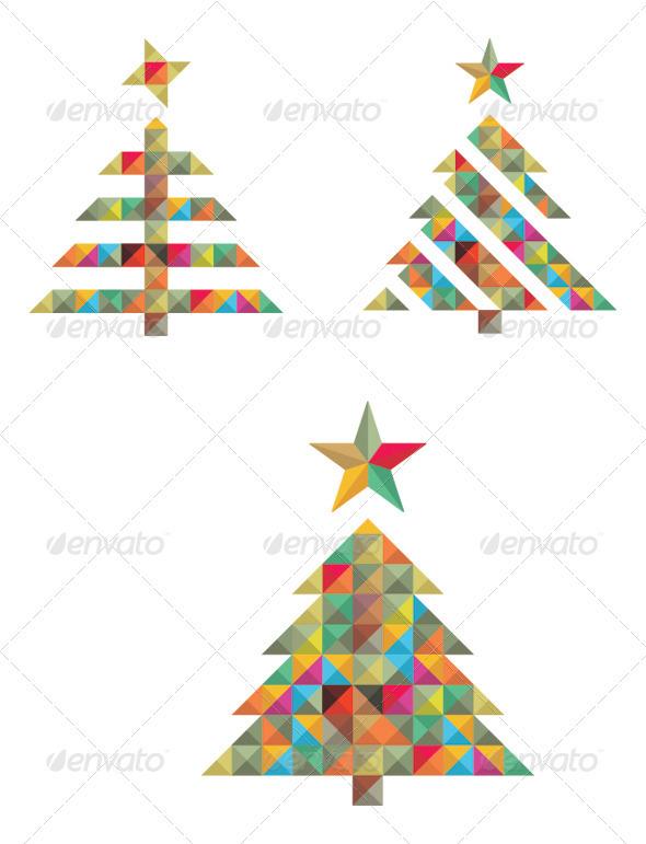 GraphicRiver Mozaic Vector Christmas Tree Set 3576055