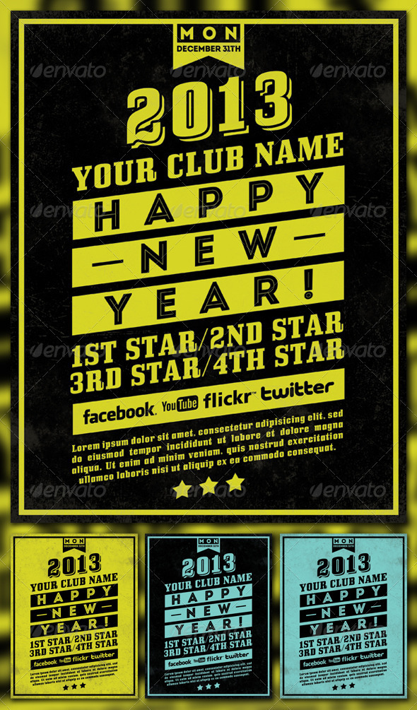 GraphicRiver Happy New Year 2013 Simple Flyer 3609974