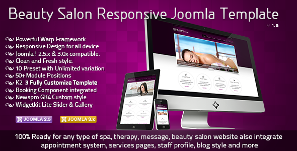 ThemeForest Beauty Salon Responsive Joomla Template 2677522